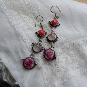 Pink gem drop earrings